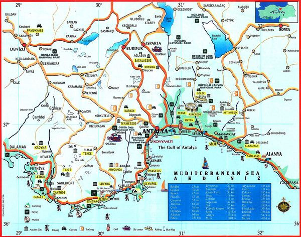 Antalya Turkey Tourist Map TURKEY Pinterest Tourist map and