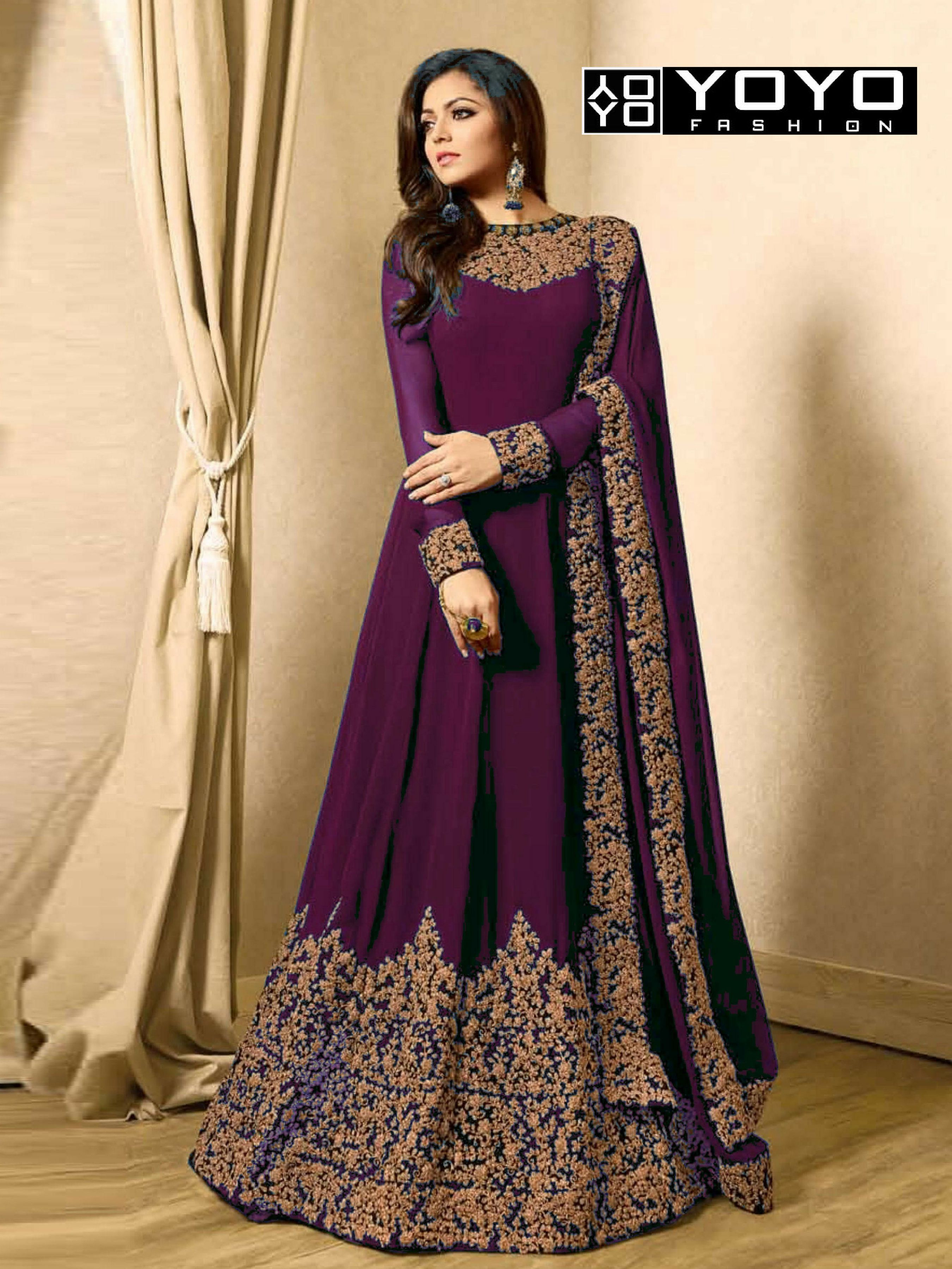 540b3f4515 YOYO Designer Faux Georgette Purple Embroidered Anarkali Salwar Suit ...