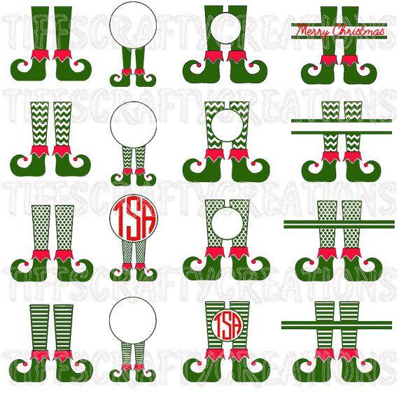 Elf Legs Svg Elf Monogram Svg Split Chevronpolka Dots And Etsy Christmas Monogram Christmas Svg Christmas Elf