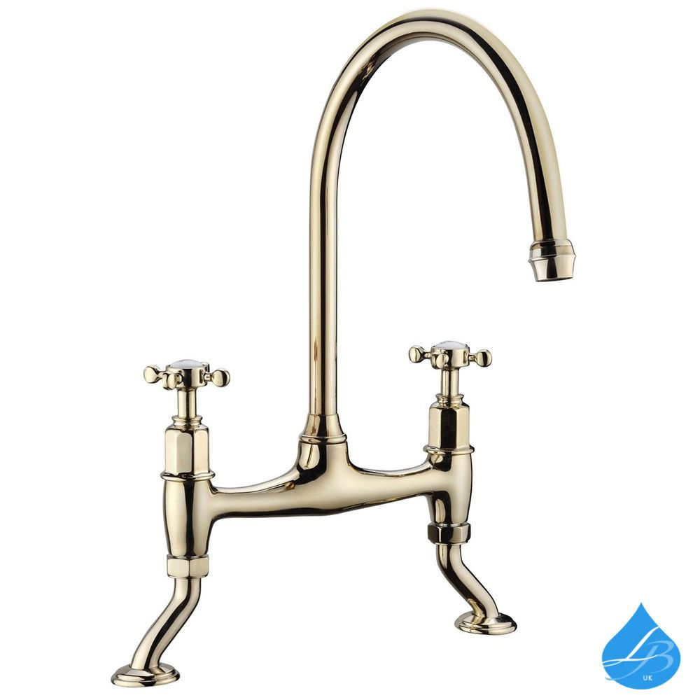 Classic Kitchen Bridge Tap Two Hole Gold Traditional Belfast Cross ...