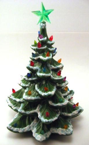 Vintage Atlantic Mold Ceramic Christmas Tree Music Box Base Snow 18 Lights Works Christmas Tree Music Box Ceramic Christmas Trees Artificial Christmas Tree