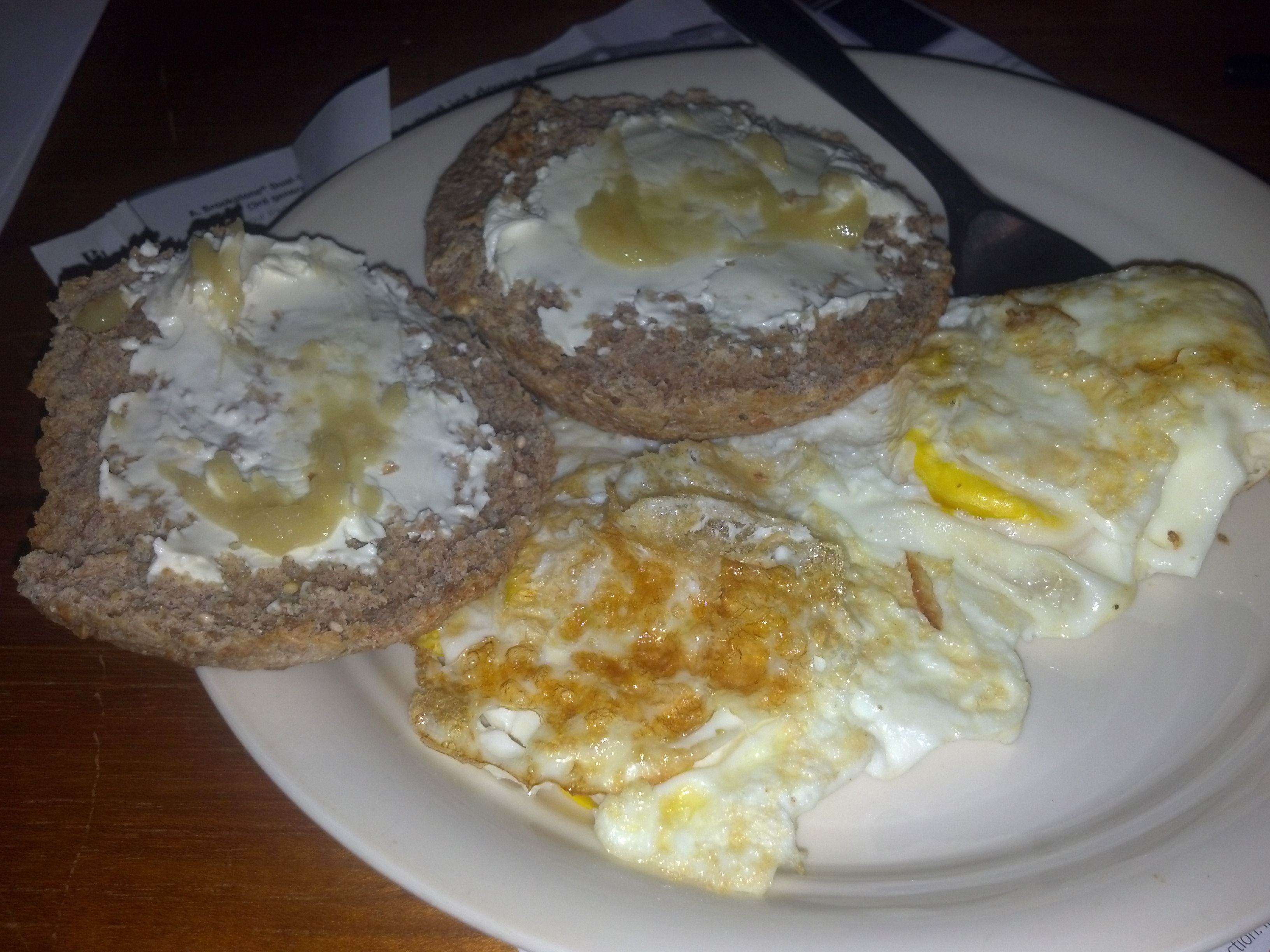 Breakfast 11/13/12 -Two eggs (140) with 1 tbsp butter (100),oneEzekiel English Muffin(160), 2 tbsp cream cheese (80), ginger spice.Total calories 480.