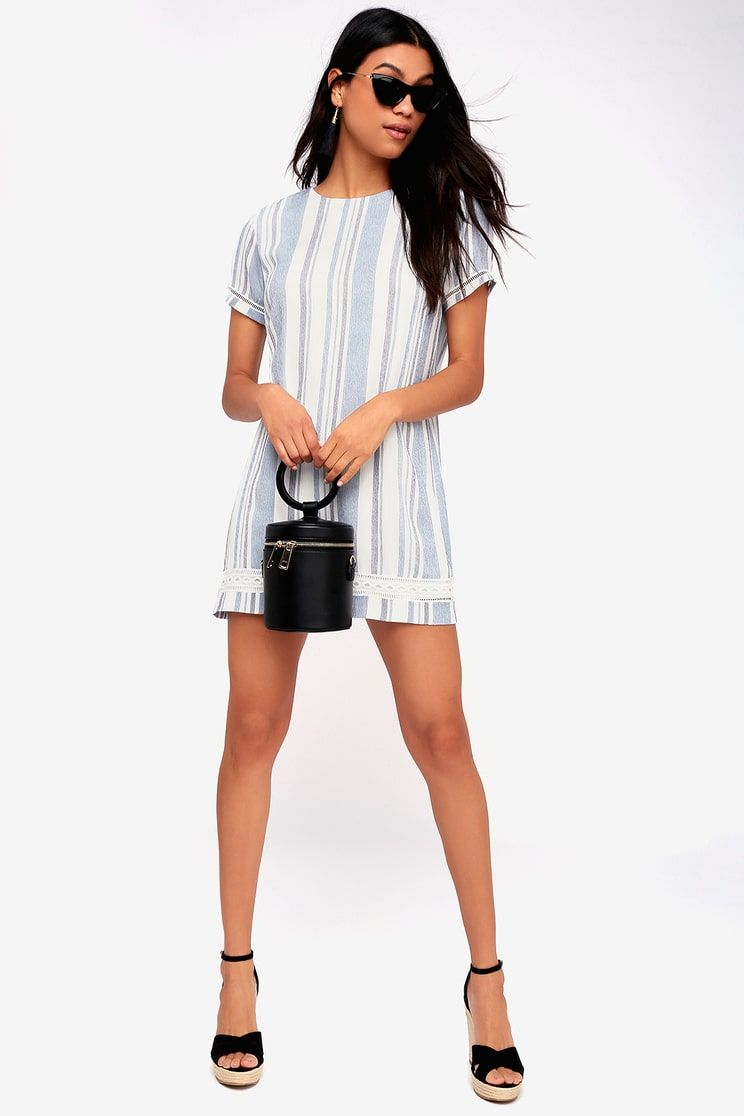 982e40faf4375e Lulus | Ardell Blue and White Striped Embroidered Shift Dress | Size ...