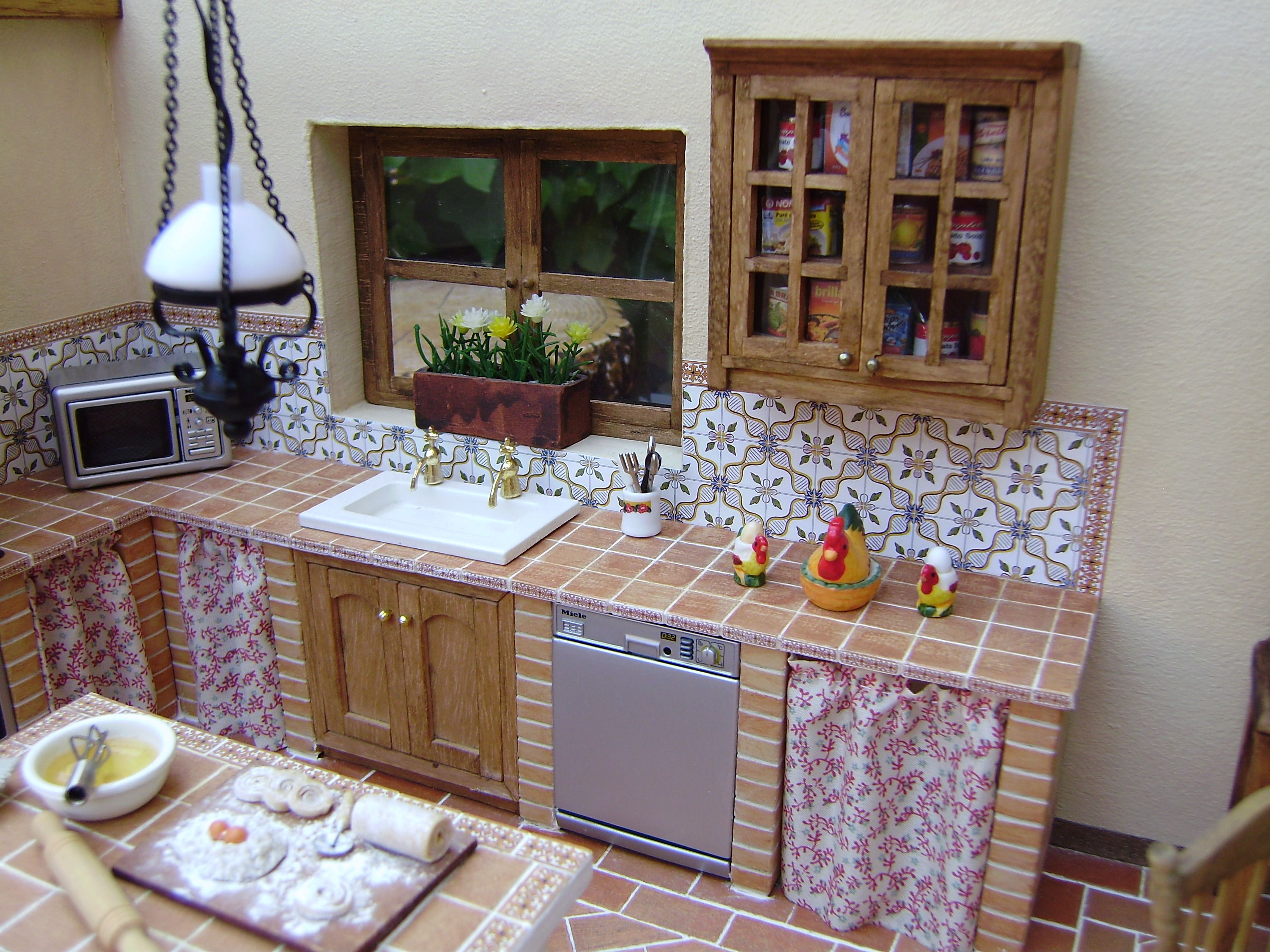 Cocina r stica sin parar de trastear miniaturas in - Cortinas cocina rustica ...