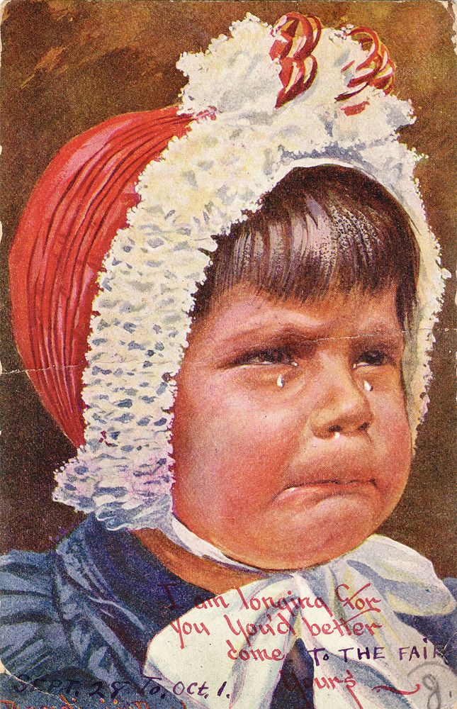 I AM LONGING FOR YOU YOU'D BETTER COME LITTLE GIRL CRYING VINTAGE POSTCARD 41 G