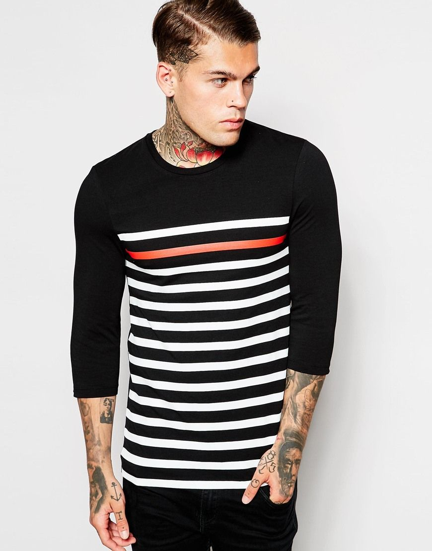ASOS Extreme Muscle Fit 3/4 Sleeve T-Shirt With Highlight Stripe