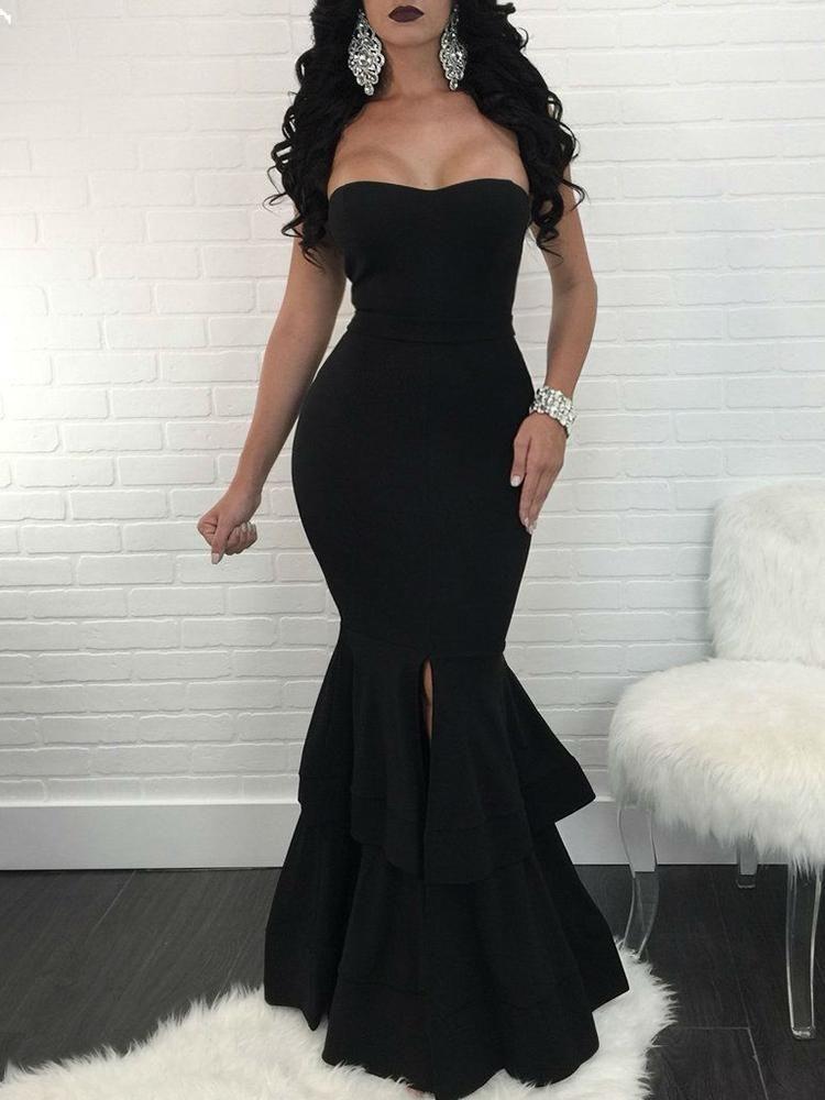 6a48b15baf7 Strapless Slit Mermaid Maxi Bodycon Dress