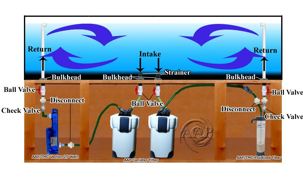 Large Aquarium Plumbing diagram picture using canister