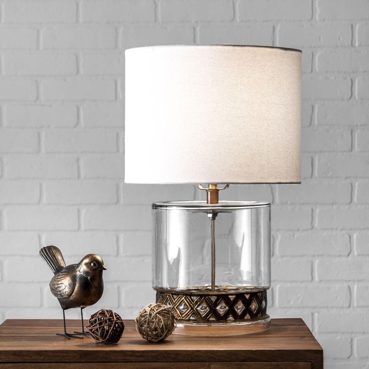 Revere 12 Inch Laurel Coronated Glass Table Lamp Clear Glass Lamp Table Lamp Glass Table Lamp Lamp