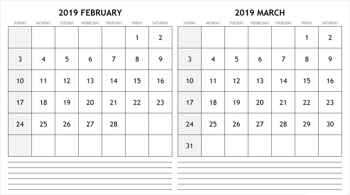 Calendar For February 2019 And March 2019 Blank Calendar February March 2019 #February #february2019