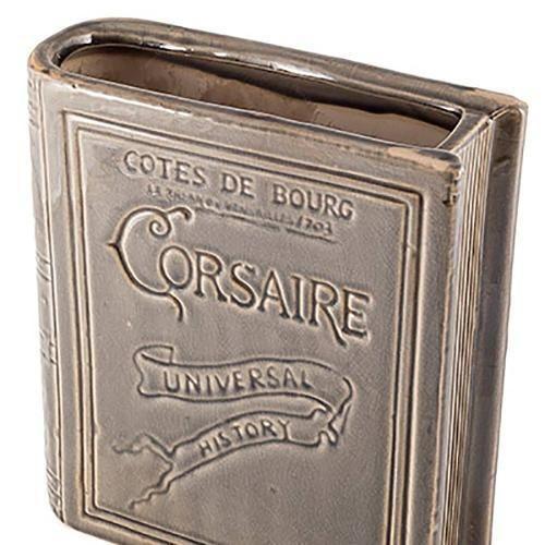 Vaso Formato De Livro Corsaire Cinza Em Cerâmica - 23x20 Cm - valor 89,00