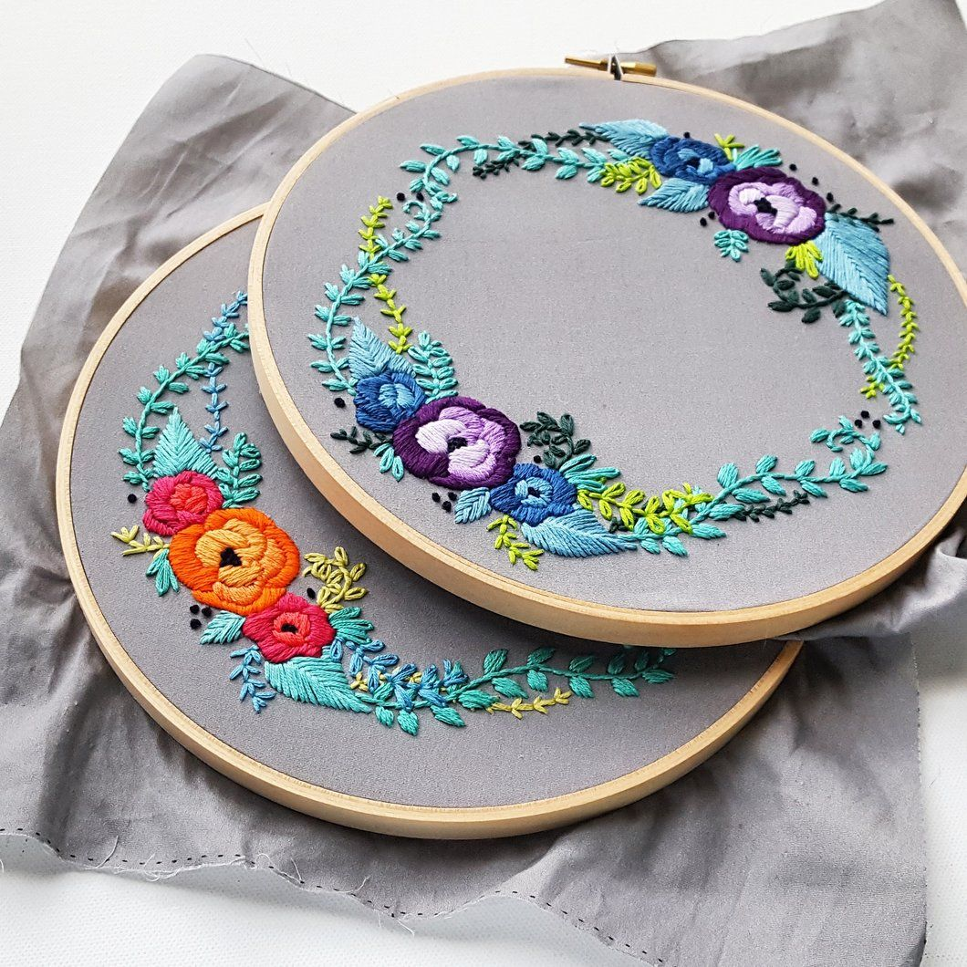 Satin rose wreath embroidery pattern pdf embroidery wreaths and pdf