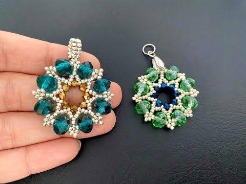 Mandala Beaded Pendant or Earrings || How to make Beaded Pendant || Easy Beading - YouTube