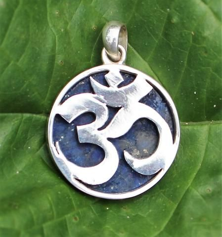 Om Sterling Silver and 20mm Lapis Pendant