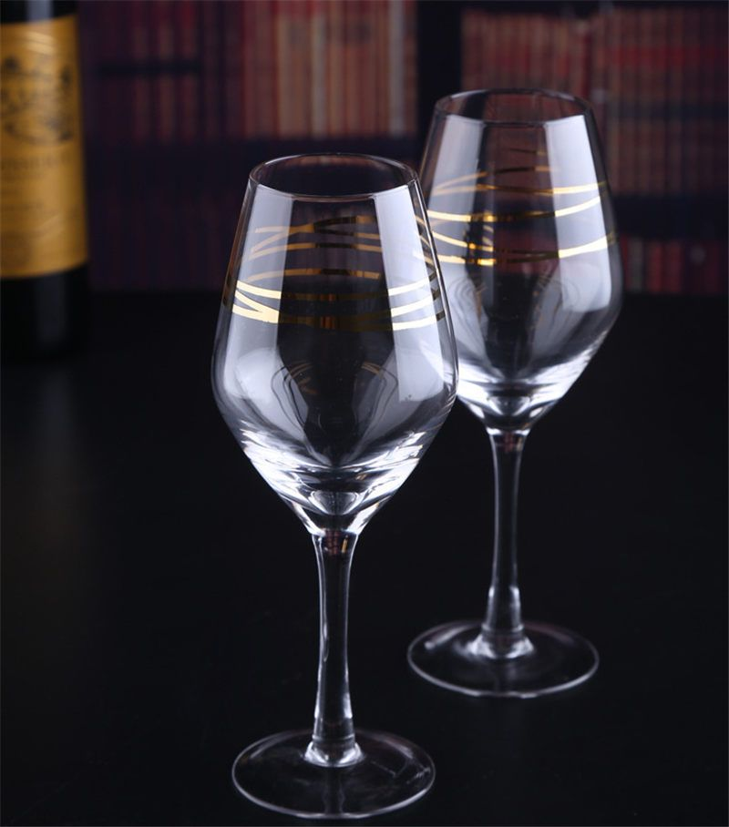 Hot Gold-plated Goblet Champagne Flute Glass White Wine