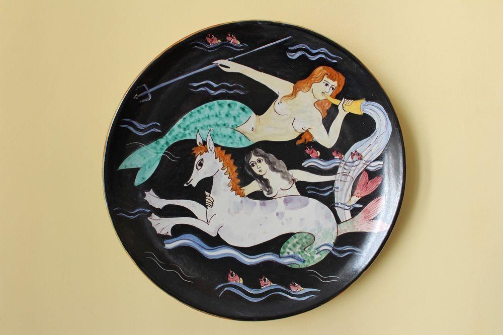 Grande piatto da muro in ceramica c a s vietri anni cas