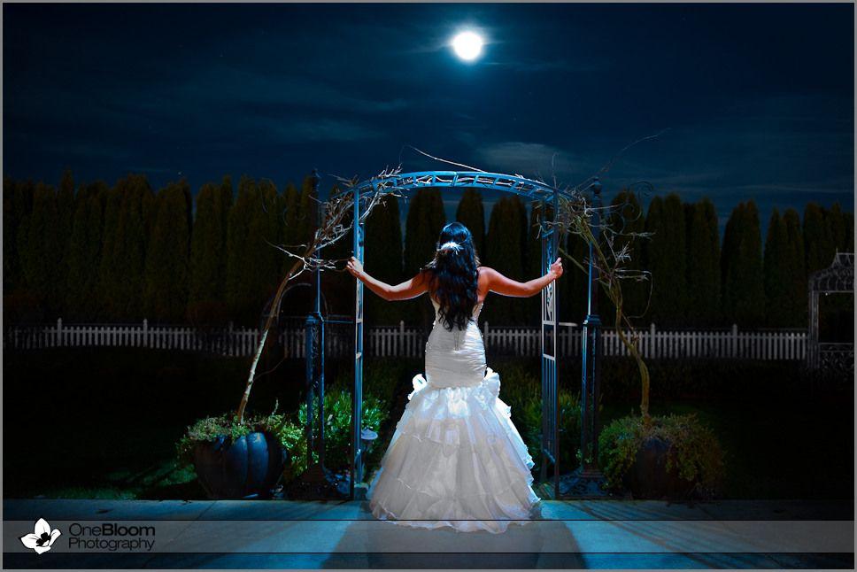 Washington Wedding Photography Bride Under Full Moon At Night Onebloom Camas