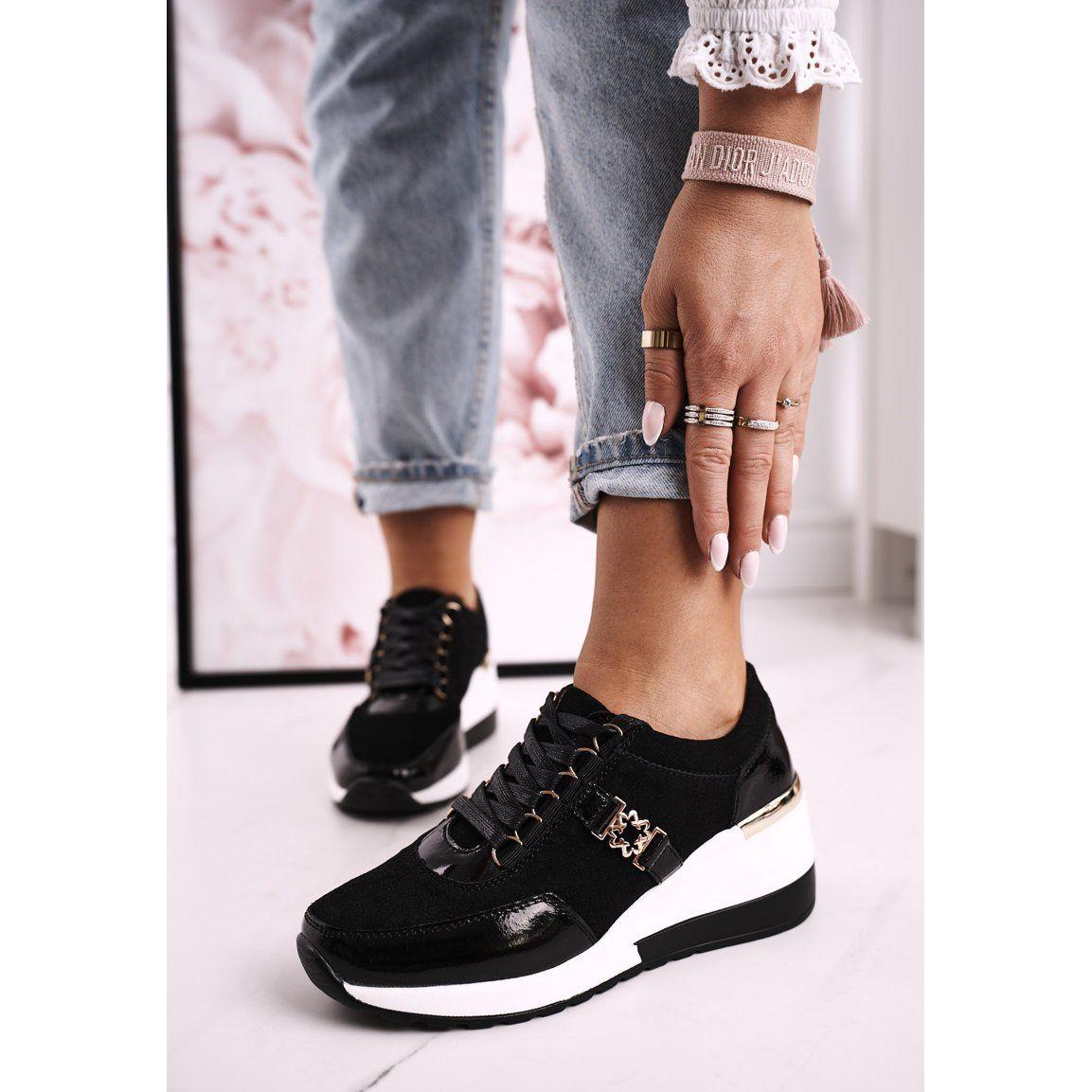 S Barski Damskie Skorzane Sneakersy Na Koturnie Czarne Zlote Roxette Zloty In 2021 All Black Sneakers Black Sneaker Shoe Bag