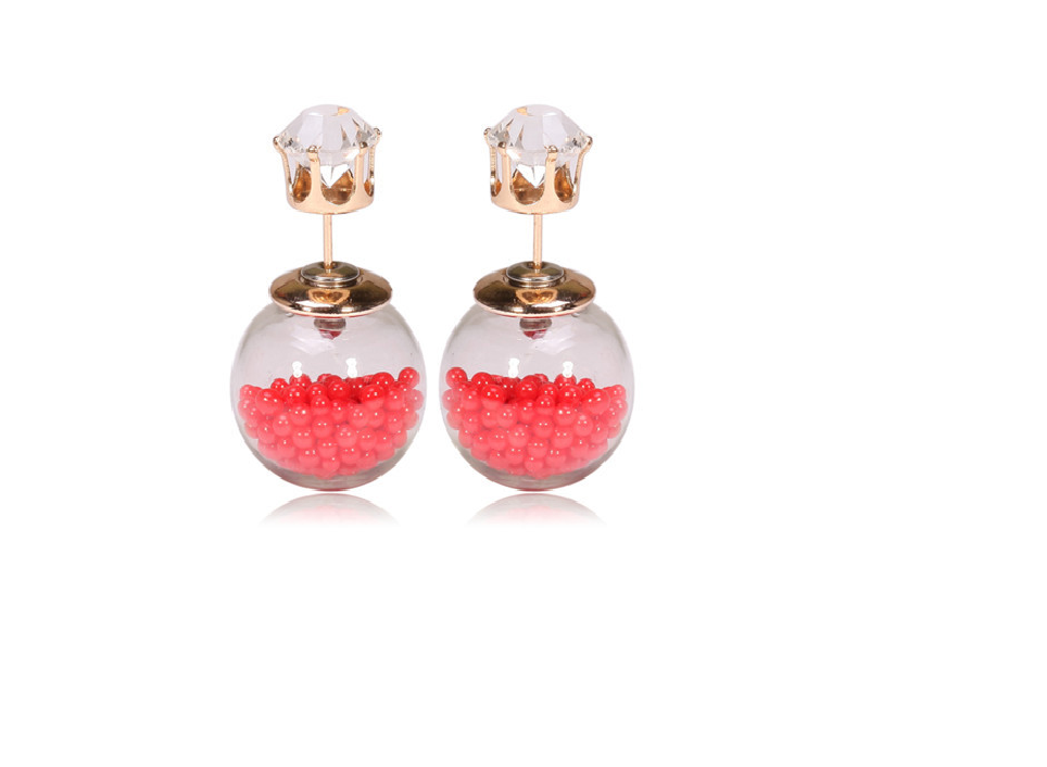 Coral Front to Back Earring Studs