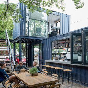 spout coffee a modern container coffee shop in pretoria pinterest conteneur maison. Black Bedroom Furniture Sets. Home Design Ideas