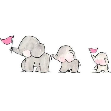 Cute Elephant Family Tattoo Design