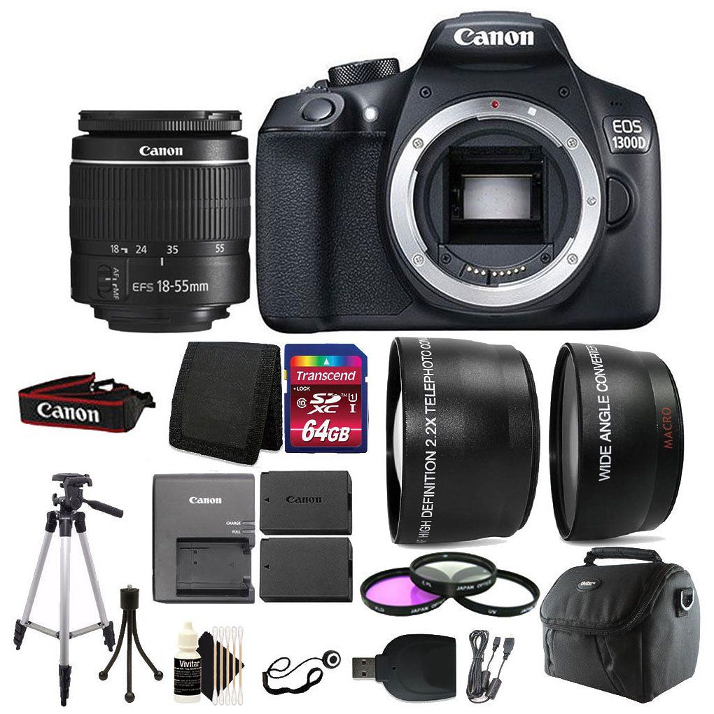 Check Out Canon Eos 1300d T6 D Slr Camera With 64gb Deluxe Kit 18 55 Iii Accessory