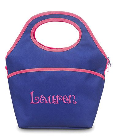 Look what I found on #zulily! Navy & Pink Personalized Lunch Cooler Bag #zulilyfinds $24.99