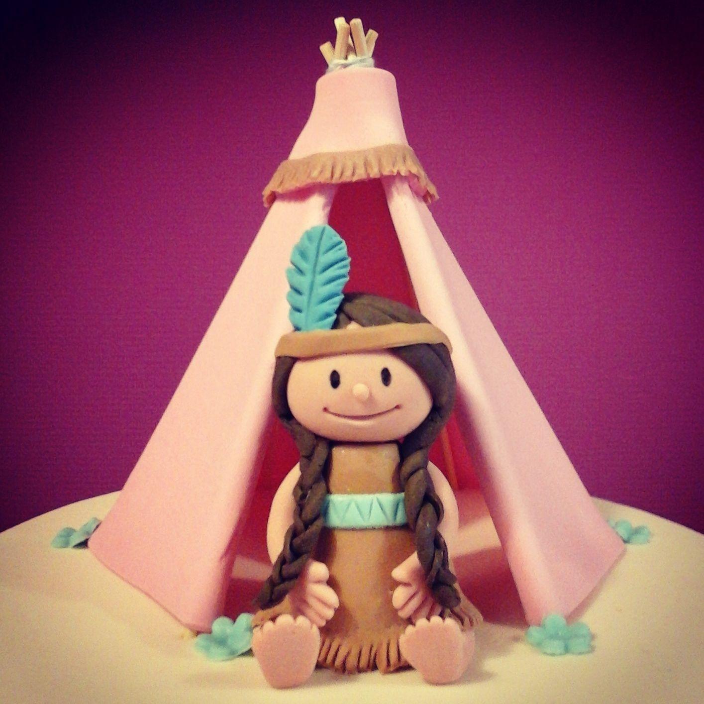 Native american girl with tipi cake topper taartvanmanja