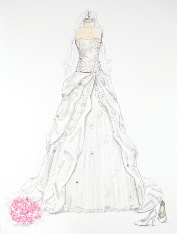 Custom Wedding Dress Illustration with crystal accents by ...