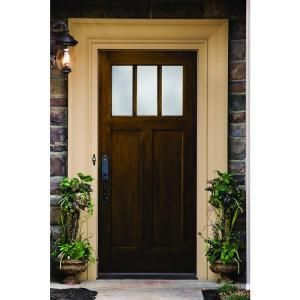 Builder S Choice 36 In X 80 In Craftsman English Walnut 2 Panel 3 Lite Stained Premium Fiberglass Prehung Front Door With Brickmould Hdx161548 The Home Depo Craftsman Front Doors Fiberglass Front Door Fiberglass Exterior Doors
