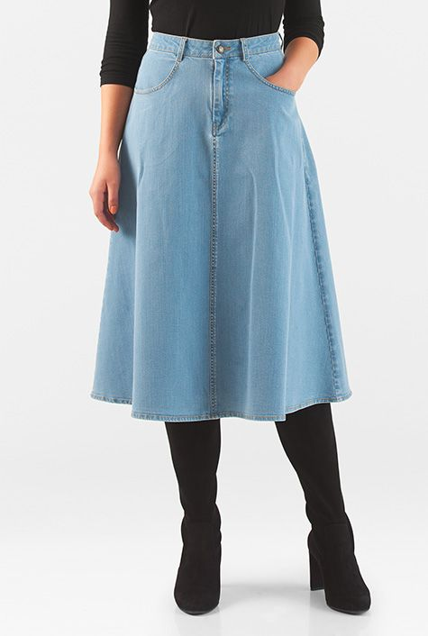 affordable price entire collection lower price with Ice blue #denim #flared #midi #skirt #eShakti | Midi flare skirt ...