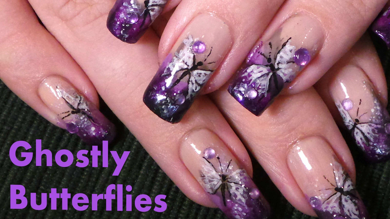 Simple Ghostly Butterflies Nail Art Design Tutorial