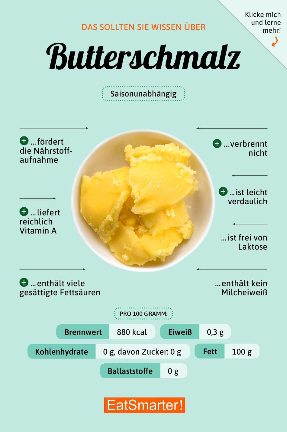 Das solltest du über Butterschmalz wissen | eatsmarter.de #ernährung #infografik #butterschmalz #vitamins