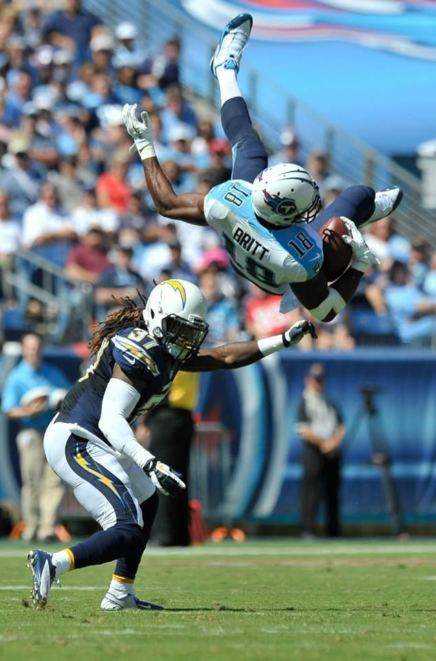 NFL Best Shots: Week 3 - That's some serious air! Tennessee Titans wide receiver Kenny Britt (18) leaps to catch a pass against San Diego Chargers defensive back Jahleel Addae. (Jim Brown/USA TODAY Sports)