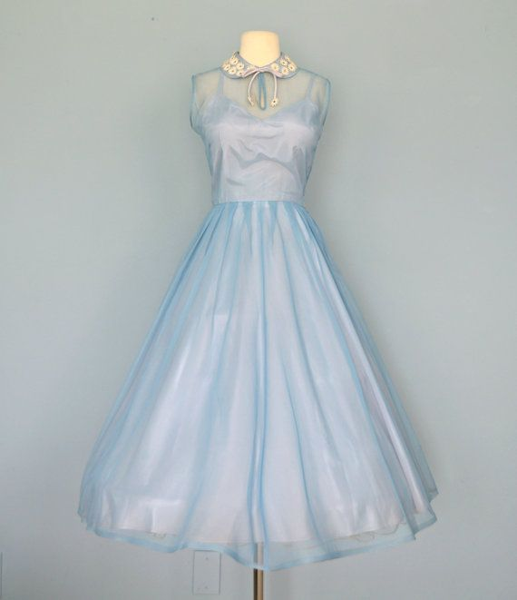 Vintage 1950s Wedding Dress...Pale Cornflower Blue DALE LYNN JUNIOR ...