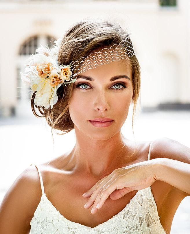 Wedding Veils Styles: Bandeau Style Birdcage Veil. 2016 Bride Hair Jewelry