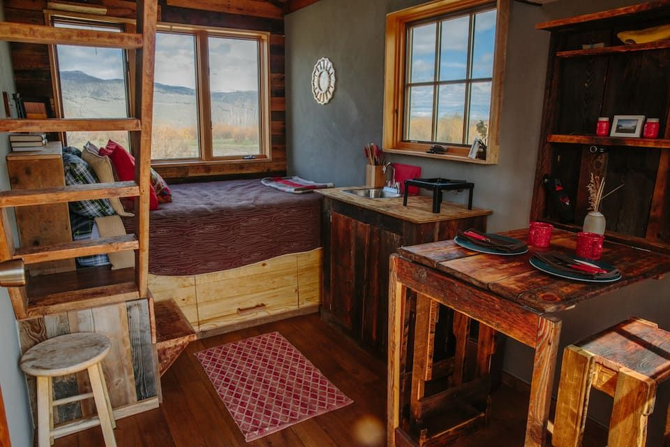 Park Walk To The Wagon Tiny House Tiny Houses For Rent In Emigrant Montana United States Tiny Houses For Rent Modern Tiny House Best Tiny House