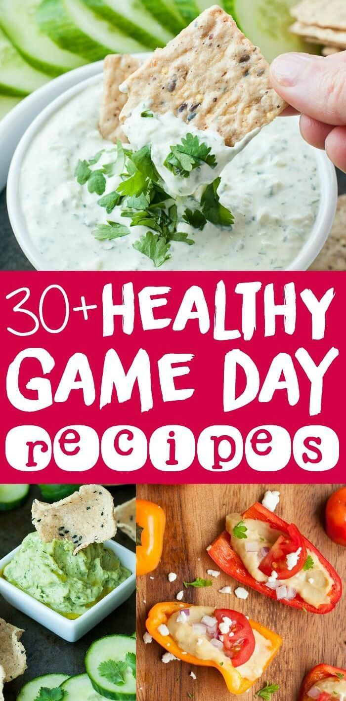 30+ Healthy Game Day Recipes :: Ditch the deep-fried chips and frozen apps and whip up these veggie-centric dips, finger foods, and snacks for the big game! #tailgate #sueprbowl #gameday #appetizer #snacks #healthy