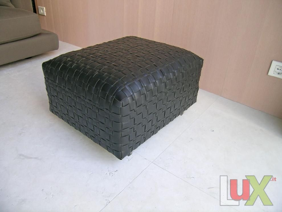 flexform bangkok woven leather ottoman model blac black leather