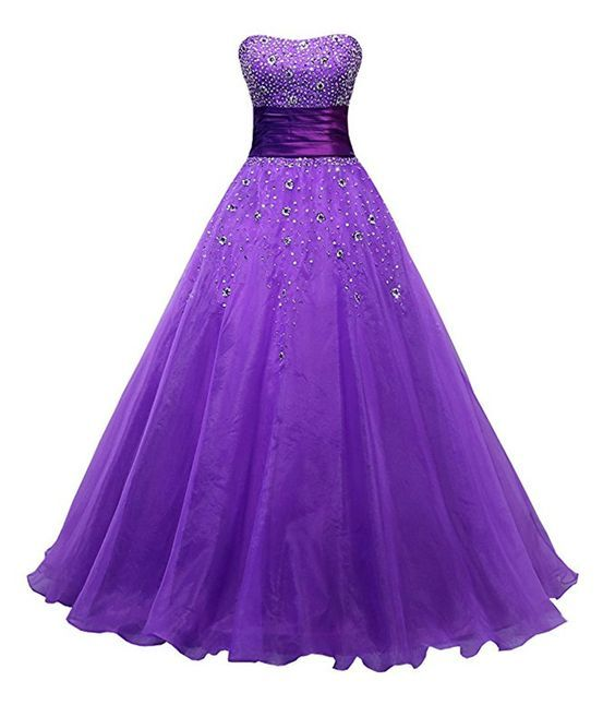 Evening Dresses Abendkleider Meerjungfrau Purple Organza Ball Gown Prom Dresses Cheap Long Party Gowns