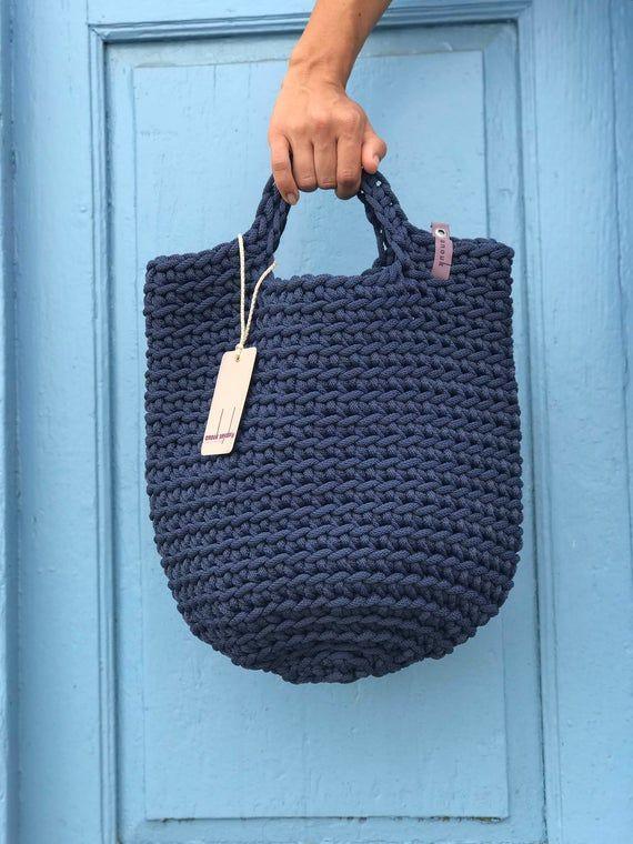 Photo of Tote Bag skandinavischen Stil häkeln Tasche handgemachte Tasche gestrickt Handtasche Geschenk für ihre dunkelblau Farbe