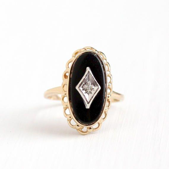 Vintage 10k Yellow Gold Black Onyx Diamond Ring Retro Etsy Antique Rings Vintage Retro Jewelry Black Onyx