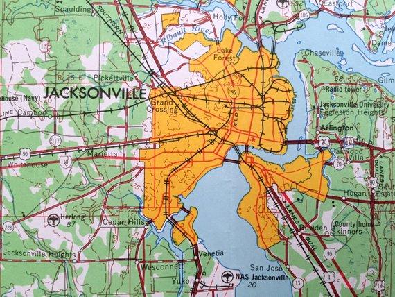Map Of Jacksonville Georgia.Antique Jacksonville Florida 1957 Us Geological Survey Topographic