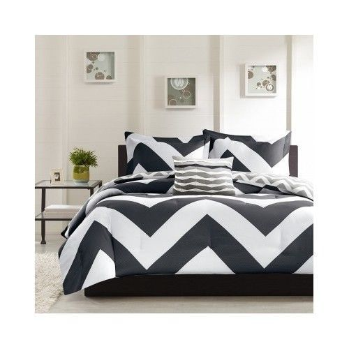 Black White Comforter Set Chevron Fullqueen Bed Zigzag Bedding