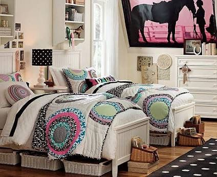 Bedroom, Attractive Twin Bedding Design Ideas By White Color And Colorful  Floral Patchwork Motif Also
