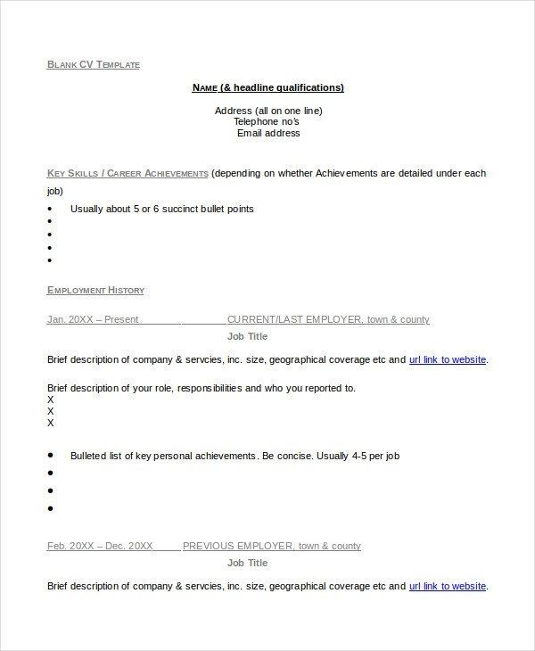 35+ Sample CV Templates PDF, DOC in 2020 Resume