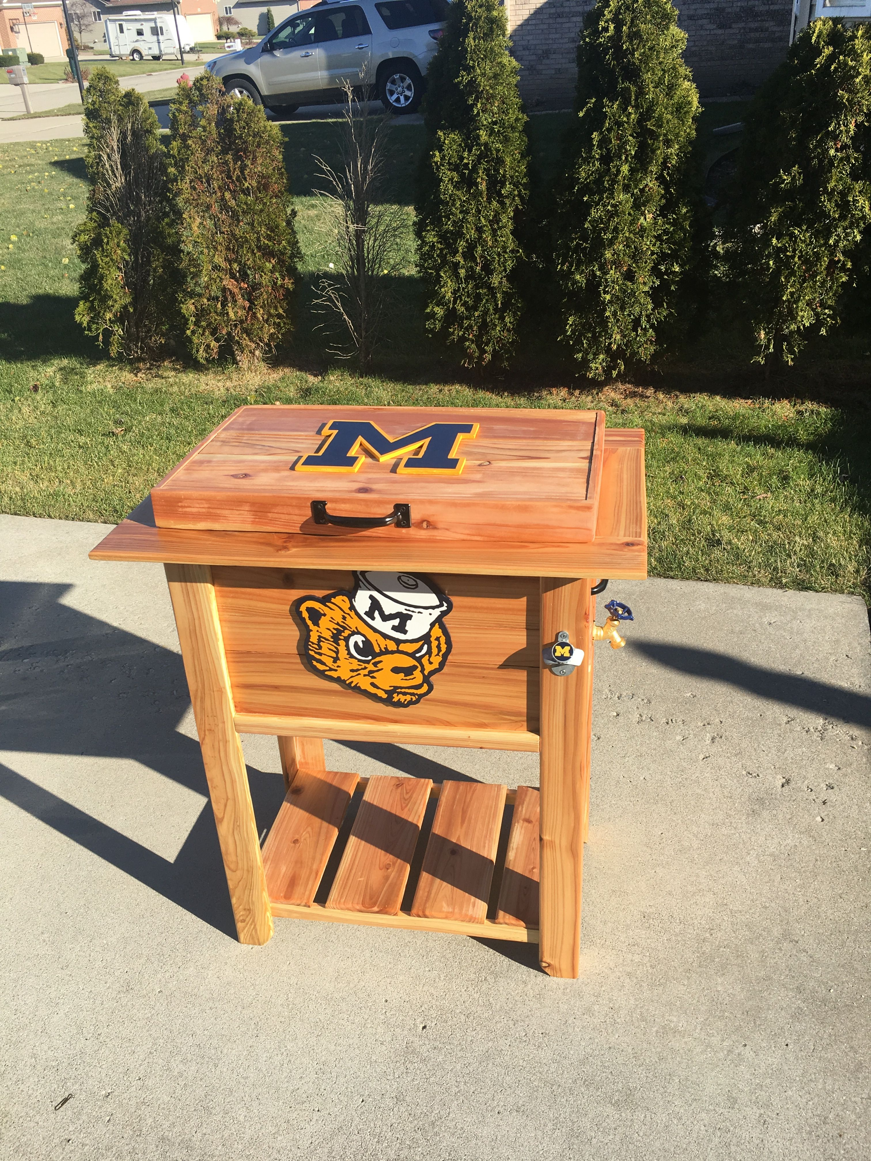 University Of Michigan Patio Deck Cooler Or Ice Chest Made From Cedar Fence Pickets Includes A 48 Deck Cooler University Of Michigan Logo Cedar Fence Pickets