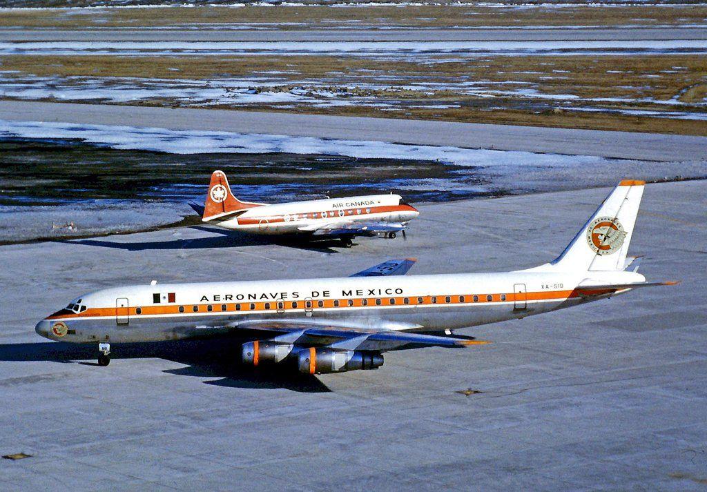 Vintage Airliners - Douglas DC-8-51 of Aeronaves de México at Toronto Pearson in 1971 - wikimedia