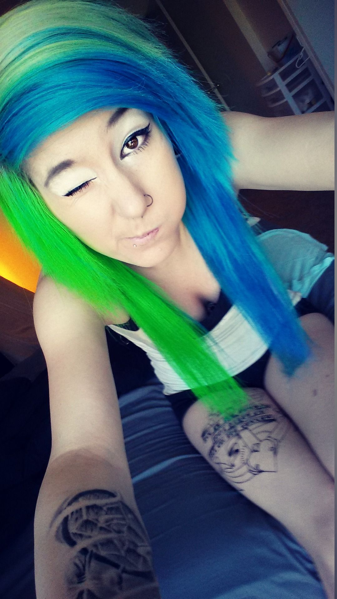 and blue green hair