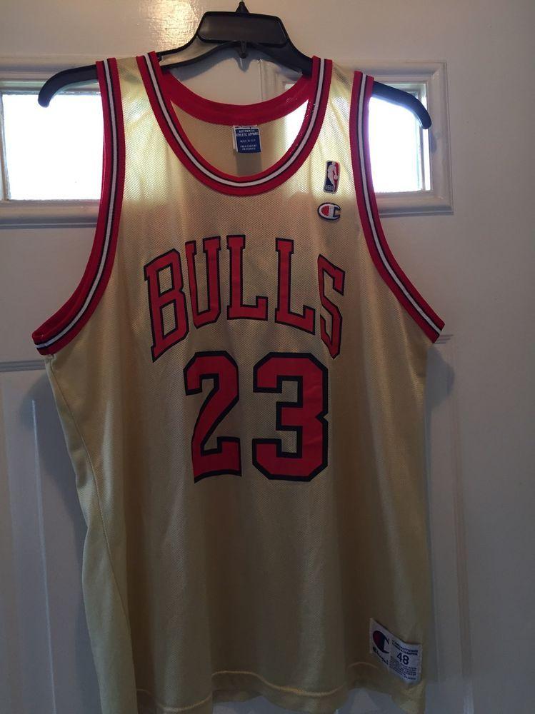 0b43bc2be18 Michael Jordan Jersey Gold Champion Chicago Bulls Air Basketball NBA Sz 48  RARE #Champion #ChicagoBulls